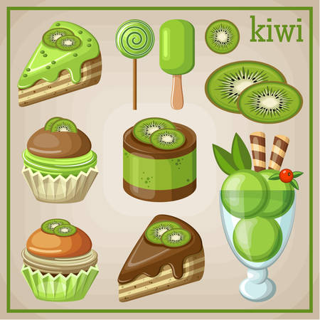 Set of sweets with kiwi. vector illustration Vector