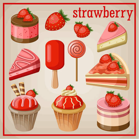 Set of sweets with strawberry. vector illustration Vector