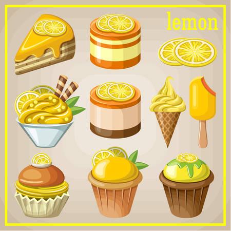 pie de limon: Conjunto de dulces con limón. ilustración vectorial