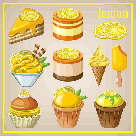 Set of sweets with lemon. vector illustration