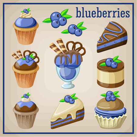 blueberry pie: Set of sweets with blueberries. vector illustration Illustration