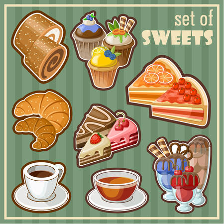ice tea: Set of sweets