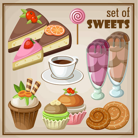 Vector set of sweets and cakes, ice cream and cupcakes. Illustration