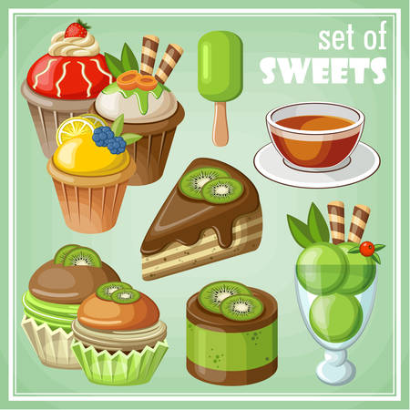 Vector set of sweets and cakes, ice cream and cupcakes. Vector