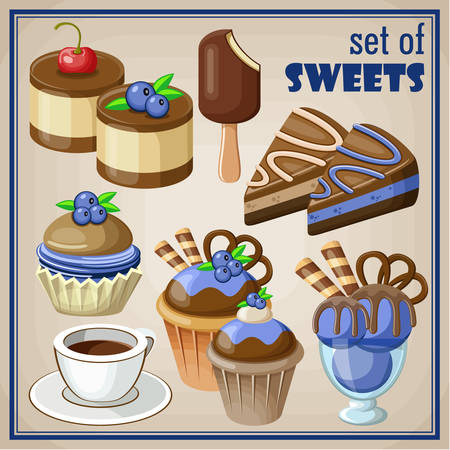 blueberry muffin: Vector set of sweets and cakes, ice cream and cupcakes. Illustration