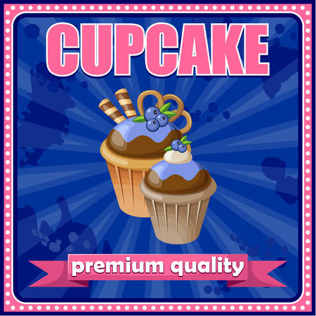 Picture of a vintage poster with a cupcake. vector illustration Vector