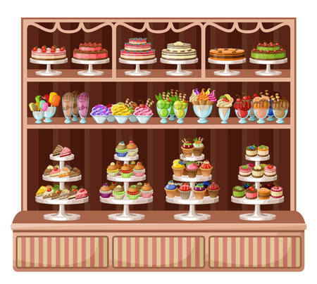 glass shelves: Image of a store sweets and bakery.