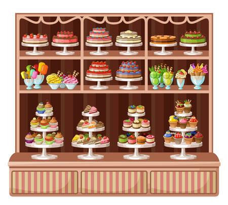 Imagen de una tienda de dulces y panadería. Ilustración de vector