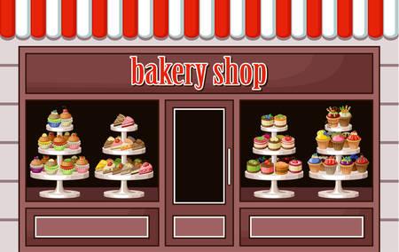 Immagine di un negozio di dolci e prodotti da forno. Vettoriali