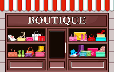 Picture of a fashion boutique with shoes and bags.