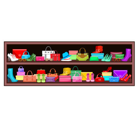 clothing shop: Image of a shelf with bags and shoes.