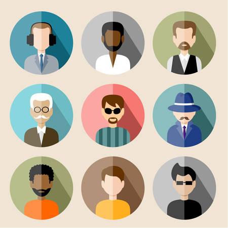 anciano: Conjunto de iconos planos círculo con el hombre. Vectores