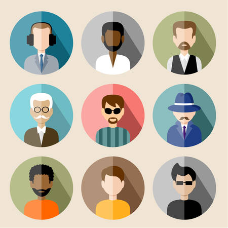 old people: Set of circle flat icons with man.