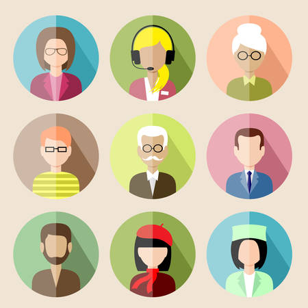 Set of circle flat icons with people.  Stock Illustratie