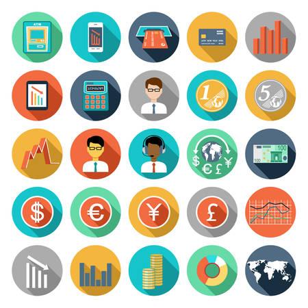 dinero euros: Conjunto de iconos de diseño plano con infografías financieros. ilustración vectorial Vectores