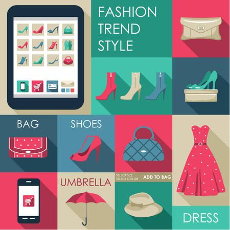 Set of flat design fashion icon  Vector