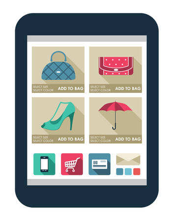 Online shop on the tablet screen. vector illustration Vector