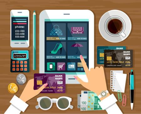 compras: De compras en la tienda en línea, las compras por Internet. Vectores