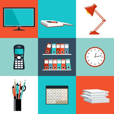 Platte set van office dingen, apparatuur, voorwerpen. Stockfoto - 32228326