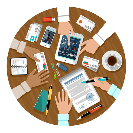 contract signing: Signing a contract in Business meeting.  Illustration