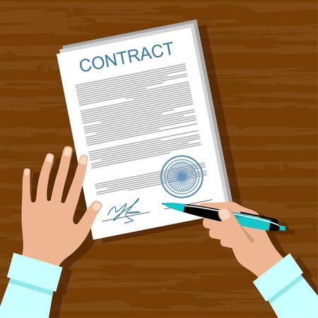 contract signing: signing of the contract Illustration