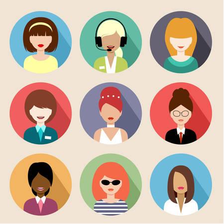 Afbeelding van platte ronde iconen met vrouwen van verschillende soorten. Stockfoto - 32464818