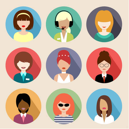 Image of flat round icons with women of different species.  Vector