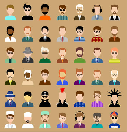 Image of flat round icons with men of different species.  Vector