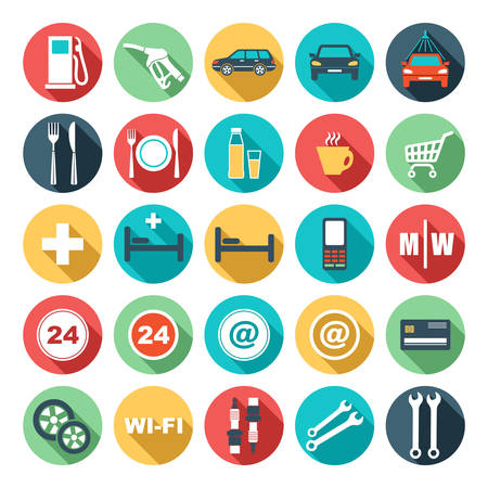 Image of flat round icons of gas station illustration Vector