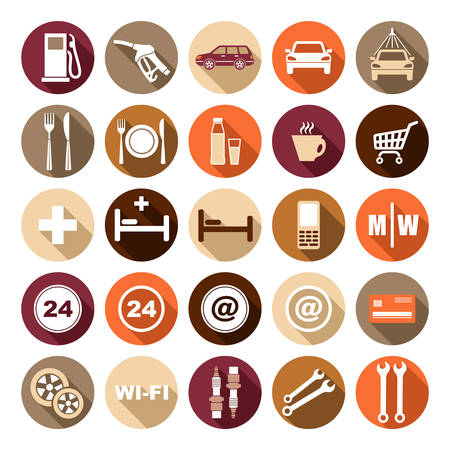gas station: Imagen de iconos circulares planas de gasolinera. Ilustraci�n vectorial