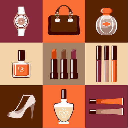 flat round icons with makeup and accessories illustration Vector