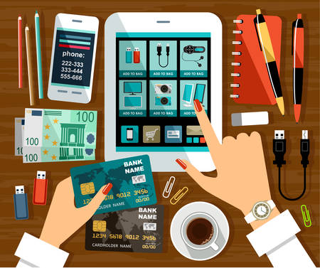 online shopping: online store on the tablet screen and female hands with a credit card illustration
