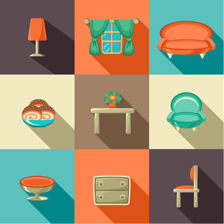 Set of flat design icon for web and mobile phone services and apps Vector