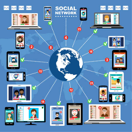 The concept of social networks, blogs and online communication Vector