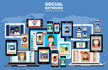 Het concept van sociale netwerken, blogs en online communicatie Stock Illustratie