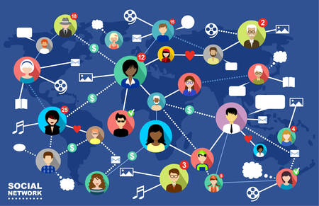 The concept of social networks, internet and online communication.