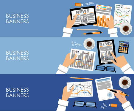 Image of three business banners with office things Vector