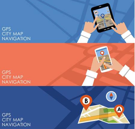navegacion: Imagen de tres pancartas con GPS en el estilo de dise�o plano. Navegaci�n. Ilustraci�n vectorial Vectores