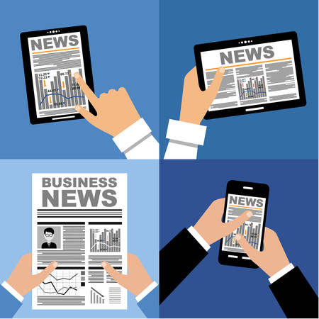 Business news on the tablet and in the newspaper Vector