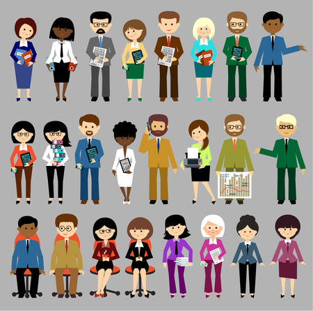 Big set of business people. Vector