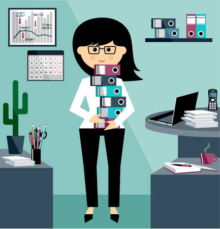 jobs cartoon: Business Woman in the style flat design