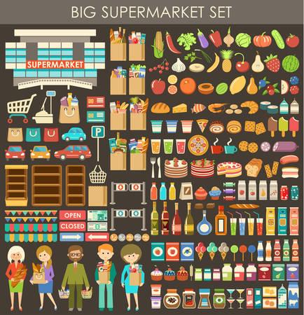 Big supermarket set.  イラスト・ベクター素材