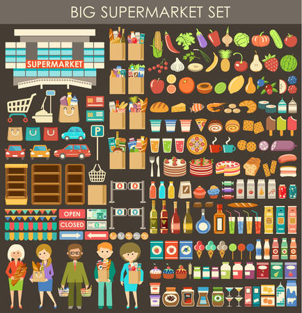 supermarket shopping: Big supermarket set. Illustration