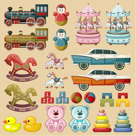 wooden doll: Set of toys.