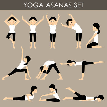 asanas: Yoga asanas set. Illustration