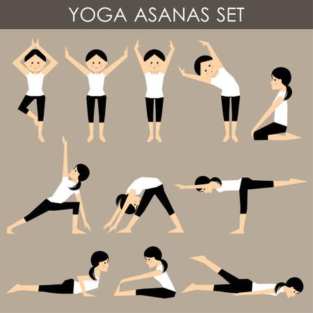 asanas: Yoga asanas set. Illustration