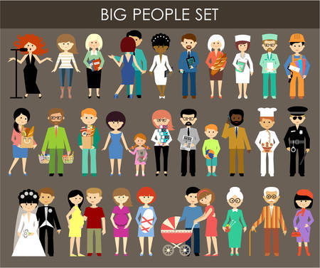 family: Set of people of different professions and ages. Illustration