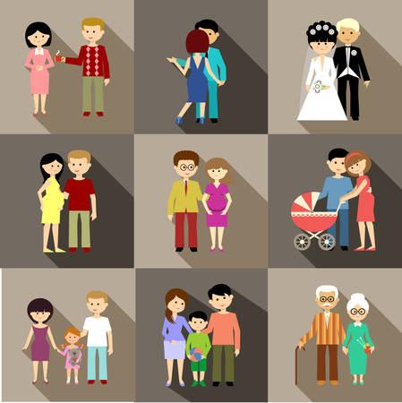 Platte set van het gezinsleven Stock Illustratie