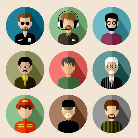 Set of round flat icons with men.