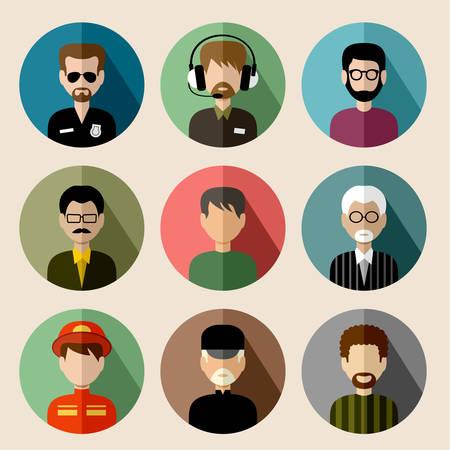 Set van ronde vlakke pictogrammen met mannen. Stockfoto - 33438627